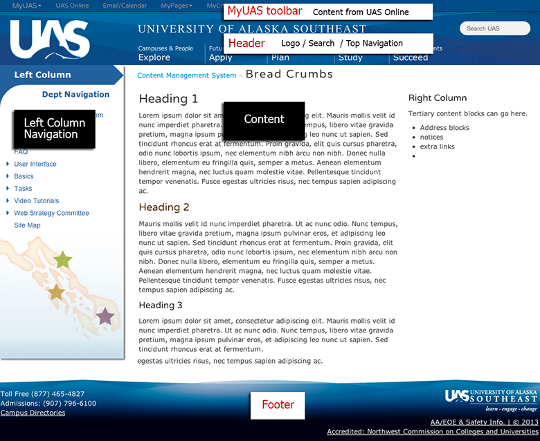 Content Management System: Template | University of Alaska Southeast
