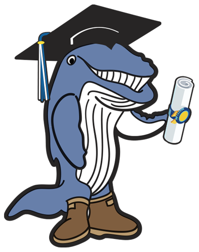 UAS Spike the whale mascot in graduate cap