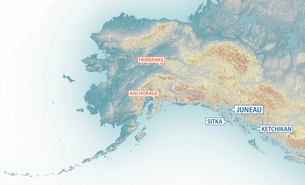 Map of Alaska and its college campuses
