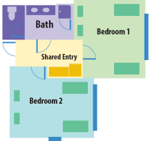 Freshman Housing typical room floor layout