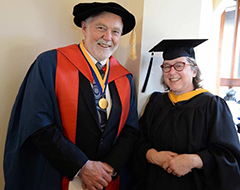 Provost Rick Caulfield at the Sitka Campus commencement with Professor Jan Straley